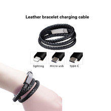 Travel Fast USB Phone Charging cable Unisex Punk Rubber Braided Leather Stainless Steel Magnetic Clasp Bracelet Charger Cable(China)