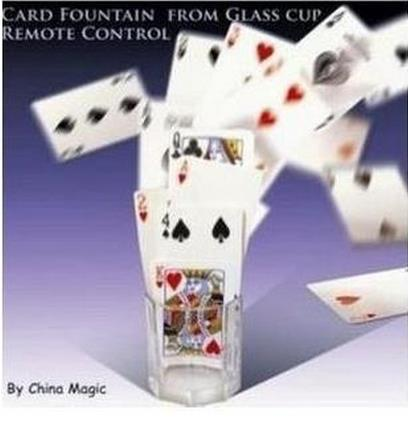 Free shipping! Card Fountain From Glass Cup Remote Control - Magic Tricks,Stage,Mentalism,Close up, Accessories,Party Magic
