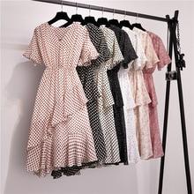 V-neck Polka Dot Dress Women Flare Sleeve Floral Vintage Chiffon Dress Summer Irregular S-XL Loose Ruffle Vestidos Mujer 2019 vintage 3 4 sleeve button design polka dot women s dress