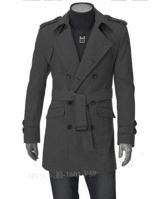 De alta qualidade homens jaqueta de inverno casaco de lã cinza preto fino casual masculino double breasted sobretudo negócios casacos coreano M - 3XL