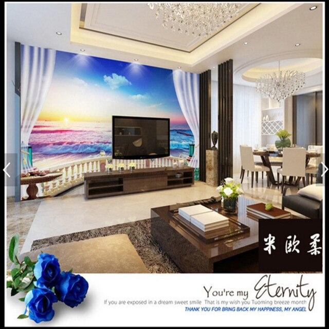 Amazing 3D Wallpaper 3D Sea Railing Curtain Mural Wallpaper For Living Room Bedroom  Sofa Background Wall Paper Photo Wallpaper Nice Ideas
