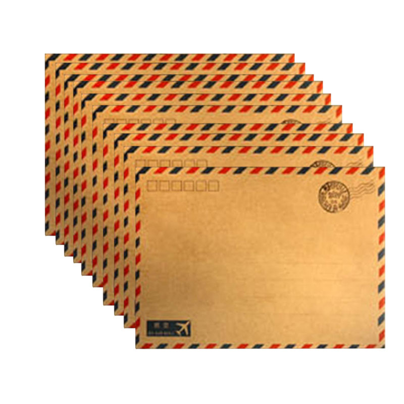 10 Sheet Hot Coffee Kraft Air Mail Envelope Postcard Stationary Storage Paper Kraft Paper Office Supply Home Supply Envelope