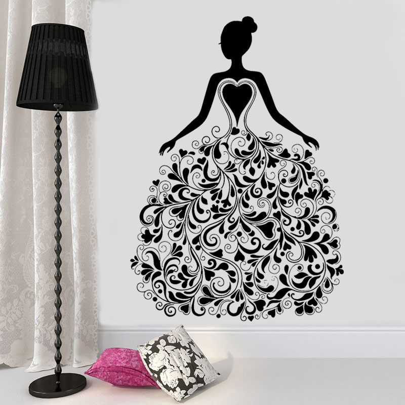Fashion Girl With Flora Pattern Dress Vinyl Sticker Wall Decal For Living Room Clothing Boutique Window Poster Murals FS17