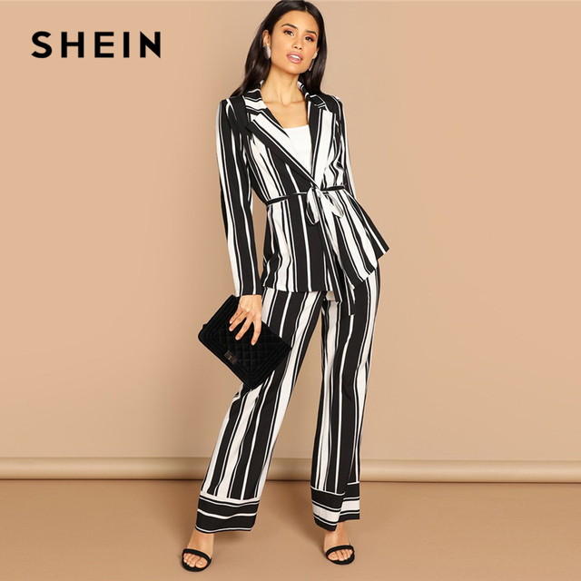 996487adbb52 SHEIN Black White Striped Notch Collar Tie Waist Blazer And Palazzo Wide Leg  Pants Set Women