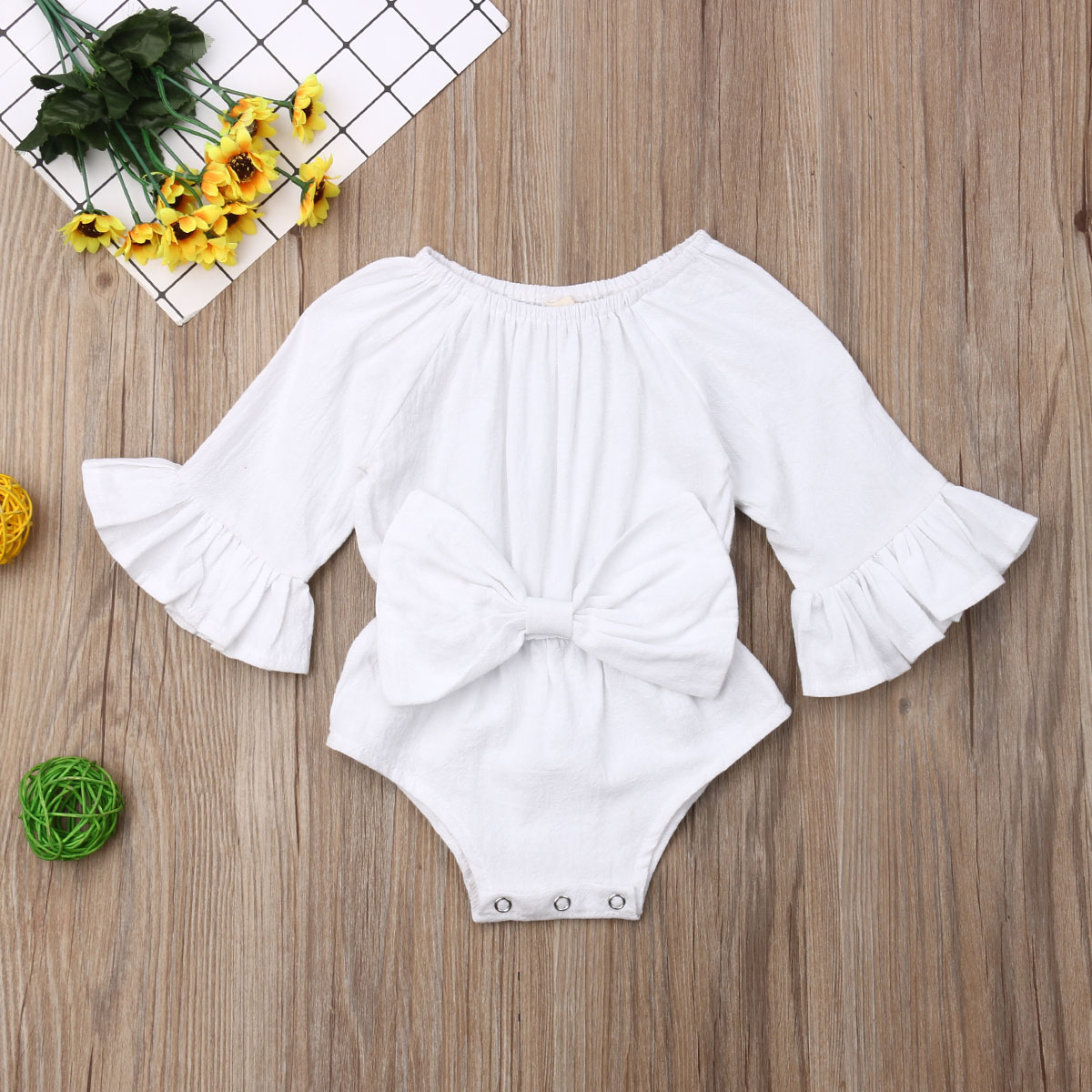 Pudcoco Newborn Baby Girl Clothes Solid Color Long Sleeve Bowknot Receive The Waist Cotton Romper Jumpsuit One-Piece Outfit Set