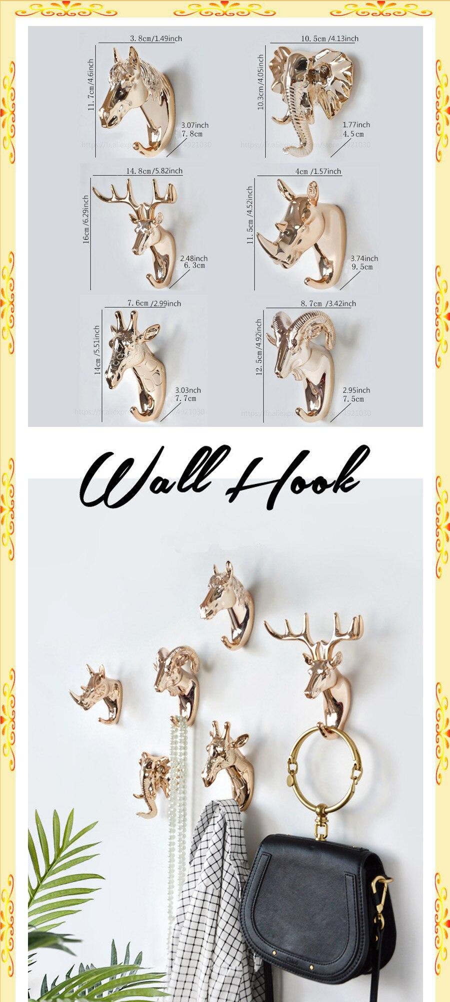 12 Types Animal Head Hook Coat Hanger Rack Wall Mount Home Decor Door Hanger