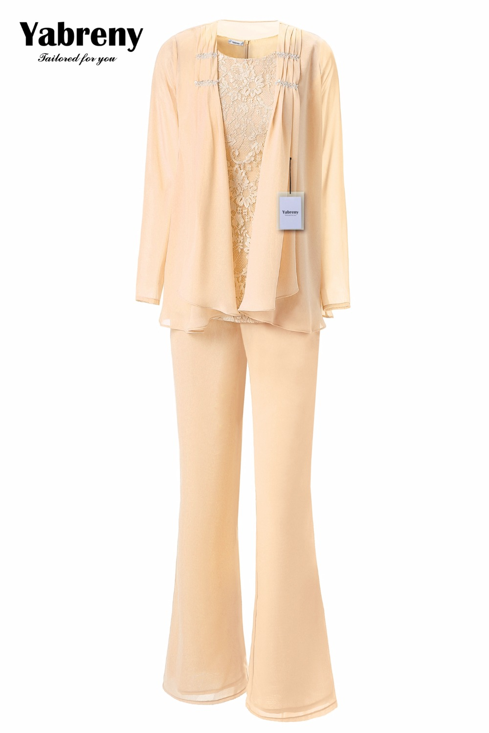 Image 5 - Yabreny Elegant Mother of the Bride Pants suit Lavender Chiffon Outfit for Special occasion MT001704 2-in Mother of the Bride Dresses from Weddings & Events