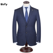 Custom Made Men's Wedding Suits Groom Tuxedos Business Slim Fit Formal Navy Sky blue Plaid Tailored Made suit for Bridegroom