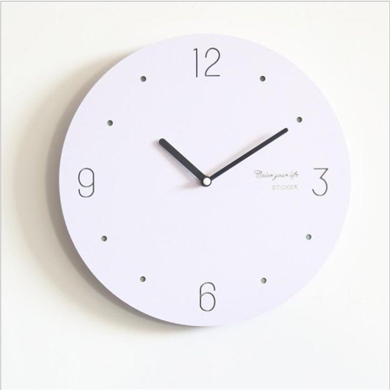 Geekcook Creative Nordic Personality Wooden Wall Clock Living Room Modern Mute Simple White Round Digital Clock Wall Watch