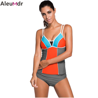 Aleumdr 2017 Sexy Women Summer Beach Swimwear Swimsuit Color Block Two Pieces Sets 2 pcs Bikini Bottom with Tankini Tops 41961