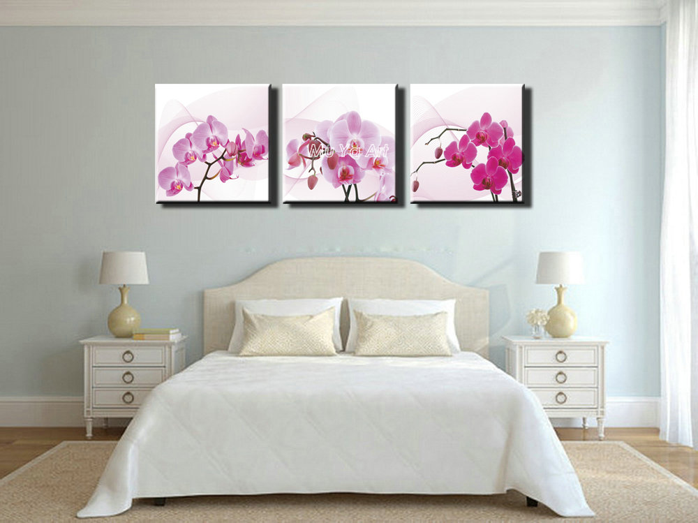 3 panel pink canvas prints canvas art orchid modern flower painting wall picture for bedroom living room home decoration in painting calligraphy from home