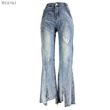 Me&SKI Jean Woman Mom Jeans Pants Boyfriend for Women with High Waist Push Up Large Size Ladies Ankle-length Denim