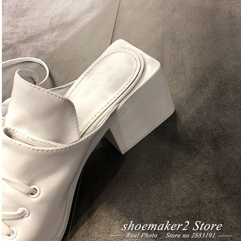 Muller Sandales Chaussures Bandage Sportvêtements Cuir 2018 blanc Grande Réel Femme Noir strap Carré En Cheville Noir Chunky Blanc Gladiateur Talon Rétro Taillevoir Bout qwppRZtSW