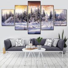 Modern Artwork One Set Wall Art Picture 5 Pieces Cloud Sky Snow Tree Winter Poster Decorative Modular Framework Canvas Painting(China)