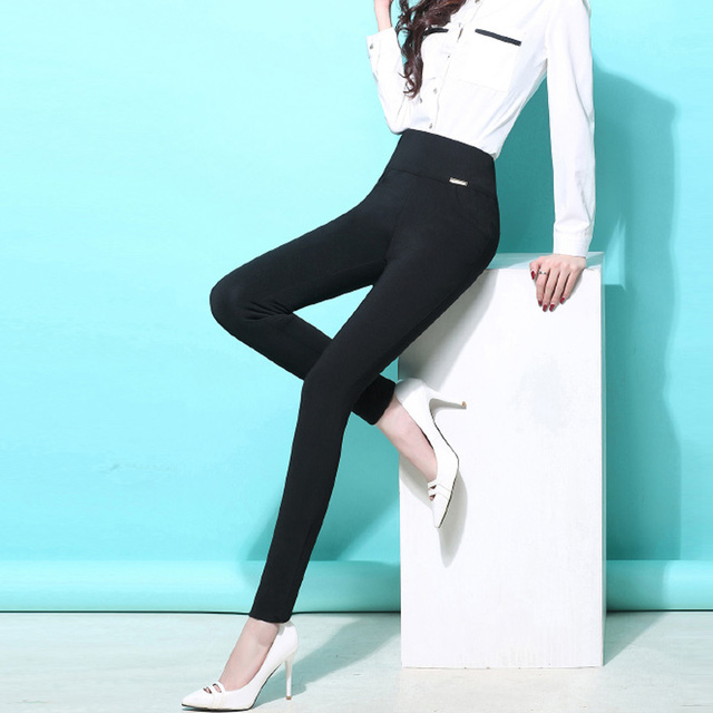 2017 Spring Plus Size6XL Fashion Women Casual Skinny Pencil Pants Classic Women's OL Pants Ladies Trouser Candy Color Pure Color