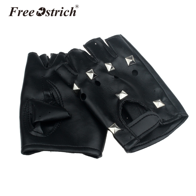 Free Ostrich PU Leather Gloves Punk Hip-hop Half-finger Round Nail Luva Motociclista Tactical Gloves Without Fingers CJ20