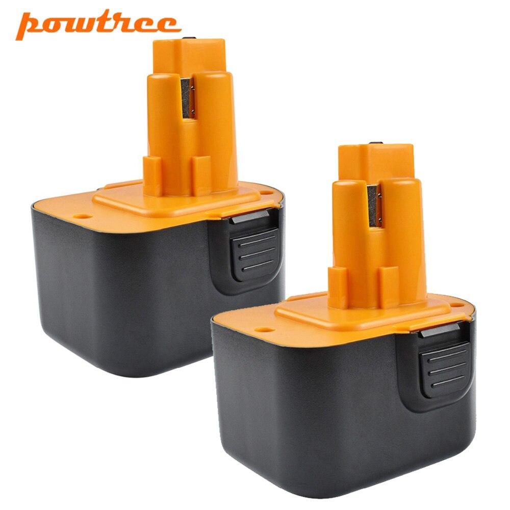 Powtree 2 PCS DC9071 12 mAh 2000 V Para Dewalt Ni-MH Bateria de Substituição Para DW9072 DW9071 DE9037 DE9071 DE9072 DE9074 DE9075 1