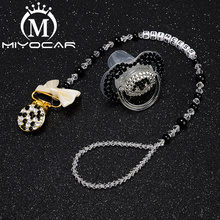 MIYOCAR bling black white pacifier clip any name can make holder dummy with SP006