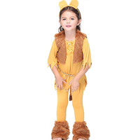 Kid Animal Lion Cosplay Dresses Pants Foot Straps Headwear Rope Vest 6Pcs Set Suit For Carnival Unisex Halloween Cosplay Costume
