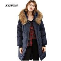 2018 Для женщин новая зимняя куртка пуховик косу волосы большой меховой воротник долго наружный 100% белая утка вниз свободные Теплая куртка