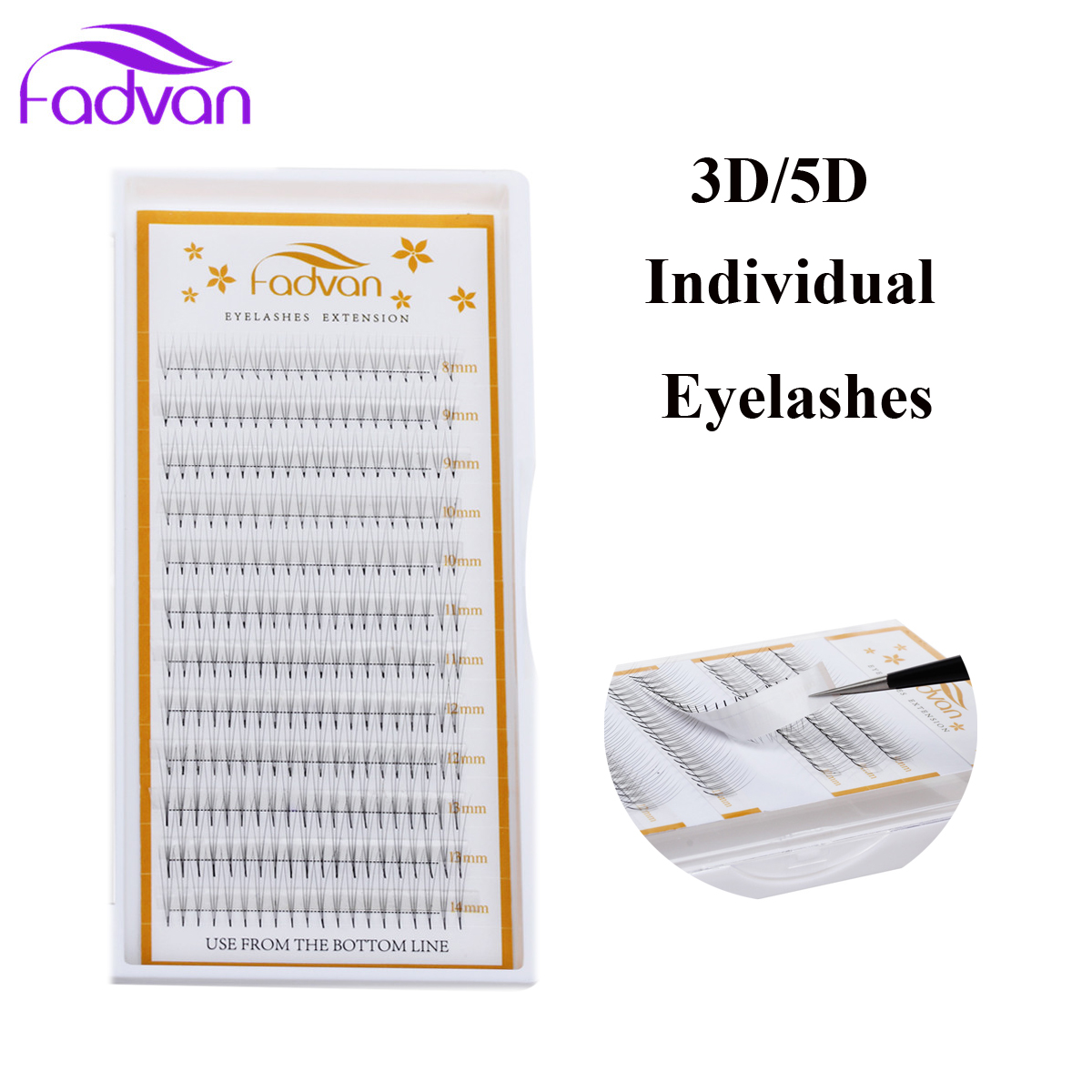 Fadvan Individual False Eyelashes Extension Tools Faux Human Hair Fake Eye Lashes Natural Long Eye Lash Growth 1 Case/set Makeup
