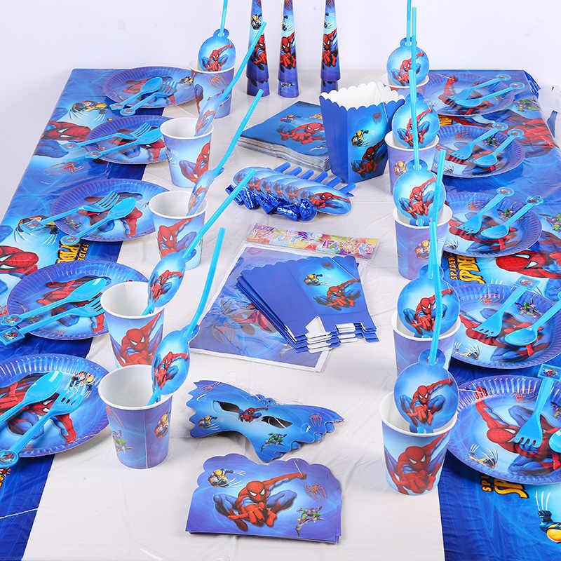 SpiderMan Happy วันเกิดตกแต่งเด็ก Disposable Tableware แผ่นผ้าปูโต๊ะถ้วย Baby Shower Party party Supplies Favor