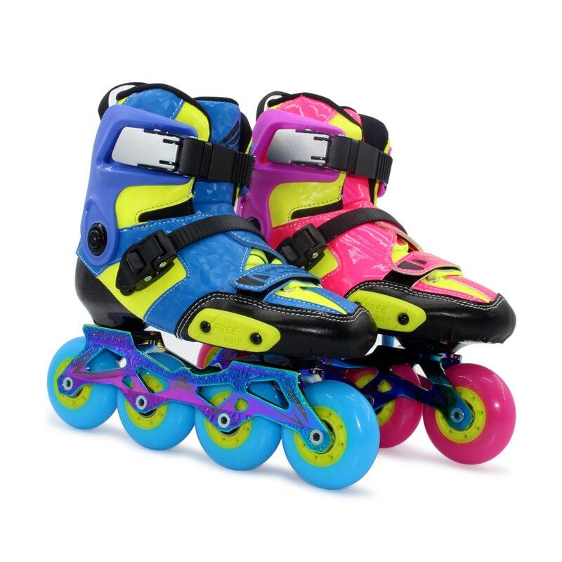 Kids Carbon Fiber Inline Skates Shoes for Children Professional Skating Competition Blue Pink S M L
