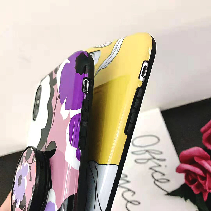 Bracket Case For iPhone XS Max XR X 8 7 6 6S 7 8 Plus Yellow Flowers Glossy Soft IMD Fashion Phone Back Cover Cases Coque Gift (2)