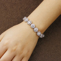 Women Bracelet White Gold Color Chakra Bracelet Charm Bracel With AAA Cubic Zircon Snap Button Jewelry