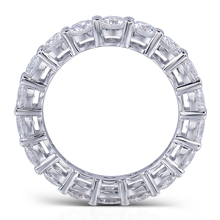 eb46e3e5f60a 925 de pavé de plata redondo corte 6 6 6mm plena plaza diamante simulado CZ  eternidad banda compromiso boda anillos tamaño 5