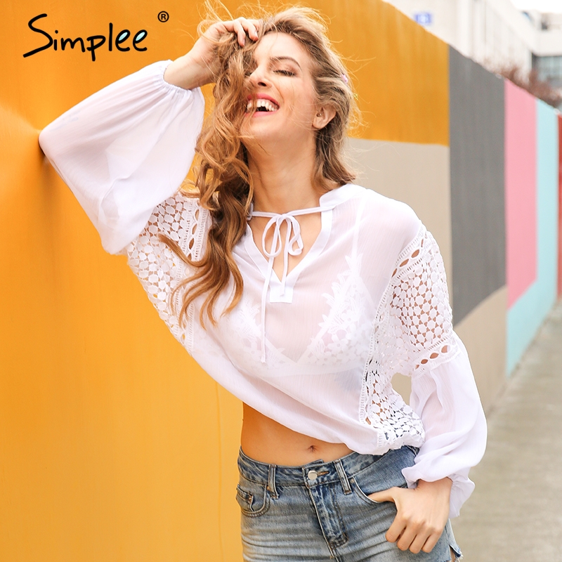 Simplee Sexy Perspectiva camisa de gasa blusa de encaje con cuello en v manga fa