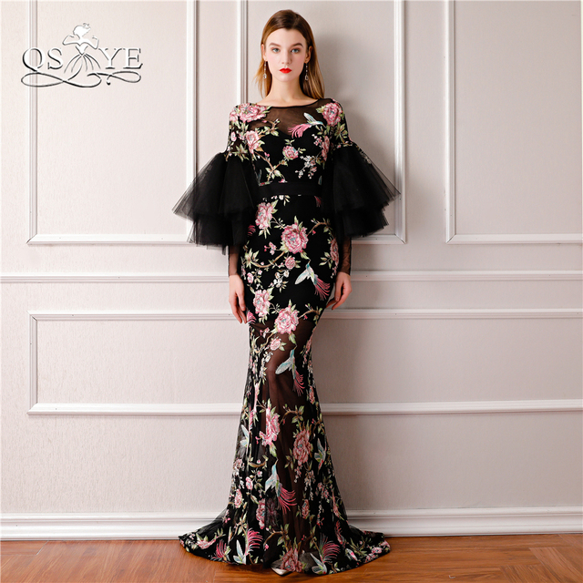 0822d00a7488 QSYYE 2018 New Saudi Arabia Formal Evening Dresses 3D Print Flowers Long  Sleeves Sexy Black Mermaid Prom Dress Long Party Gown