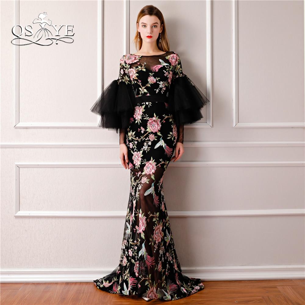 QSYYE 2018 New Saudi Arabia Formal   Evening     Dresses   3D Print Flowers Long Sleeves Sexy Black Mermaid Prom   Dress   Long Party Gown