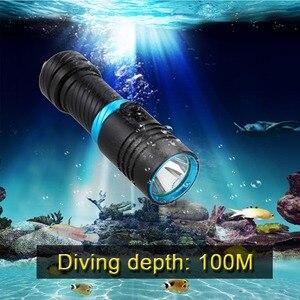 Image 5 - Draagbare 8000LM L2 Led Waterdichte Zaklamp Zaklamp Light Scuba 100M Onderwater Duiken Zaklampen 18650 Of 26650 Batterij Lamp