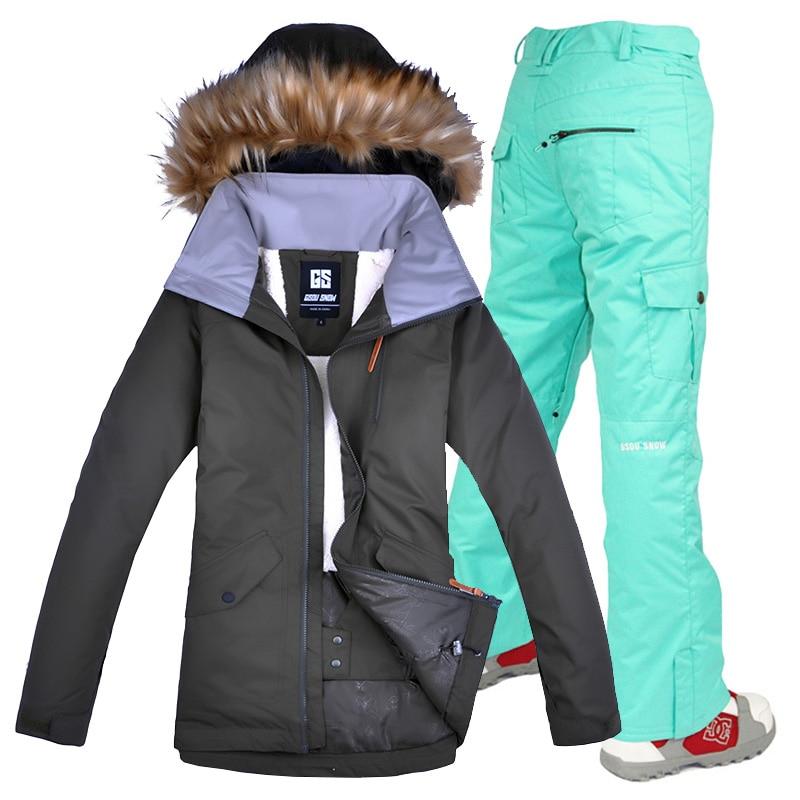 Doprava zdarma Gsou Snow Women ski set set zimní nepromokavé větruodolné dámské snowboardové lyžařské bundy a kalhoty