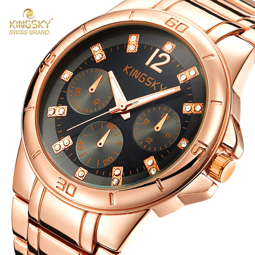 Replica mens watches - High Quality 18k Rose Gold Watches Men Luxury Brand Steel Watch Band Analog Quartz Watches For