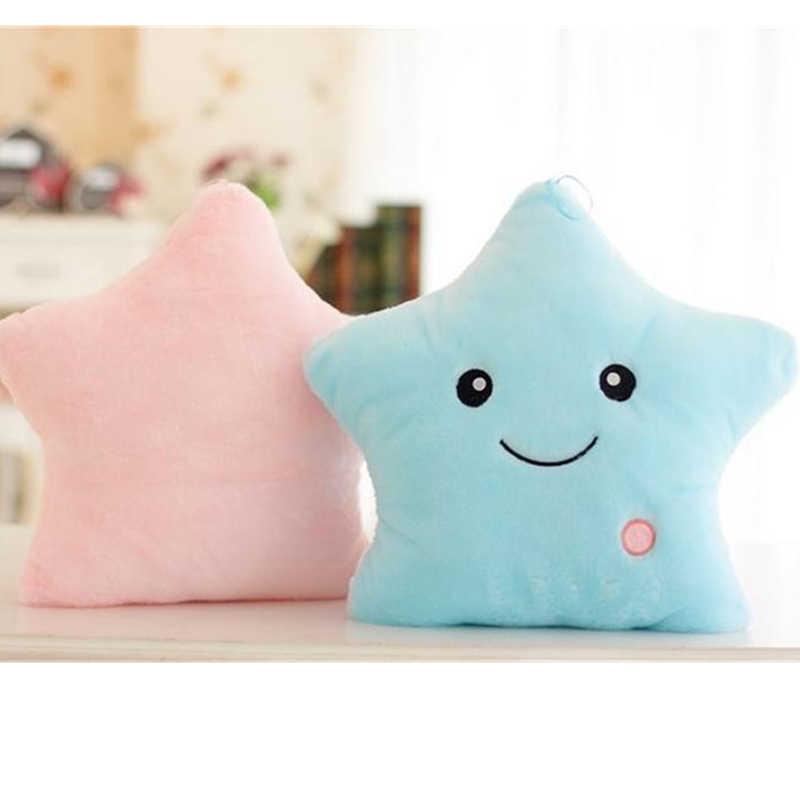 35 см игрушки световой подушку мягкого плюша светящиеся красочных звезд подушки светодио дный свет игрушки для детей Рождественский подарок