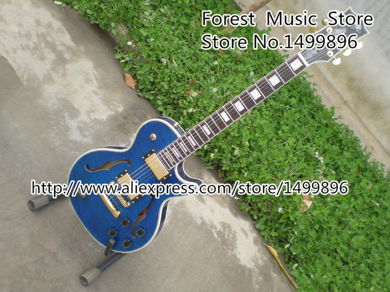 Classical Rosewood Fretboard LP Custom Electric Guitars Blue Flame Hollow Guitarra Body In Stock high quality custom shop lp jazz hollow body electric guitar vibrato system rosewood fingerboard mahogany body guitar