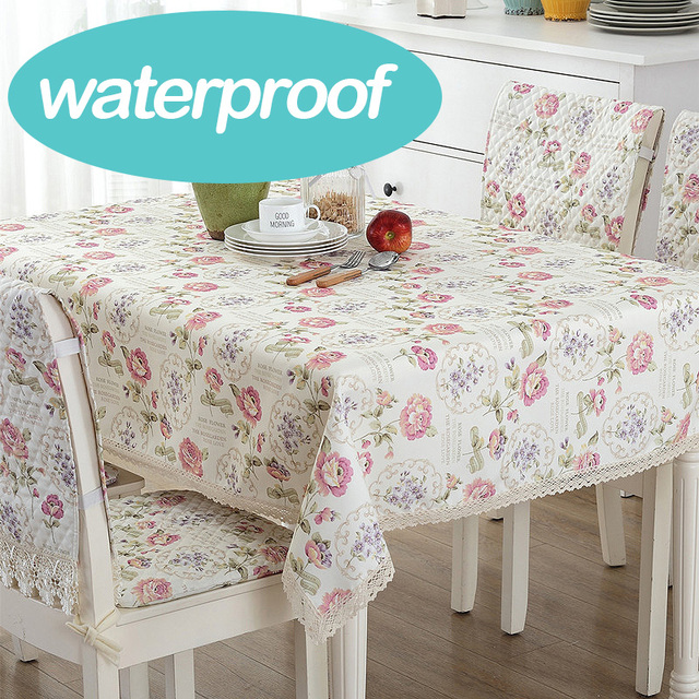 Classic Wedding Rose Round Oilskin Tarpaulins Table Cover Fabric Tablecloth  Cotton Flower Linen Floral Waterproof Very