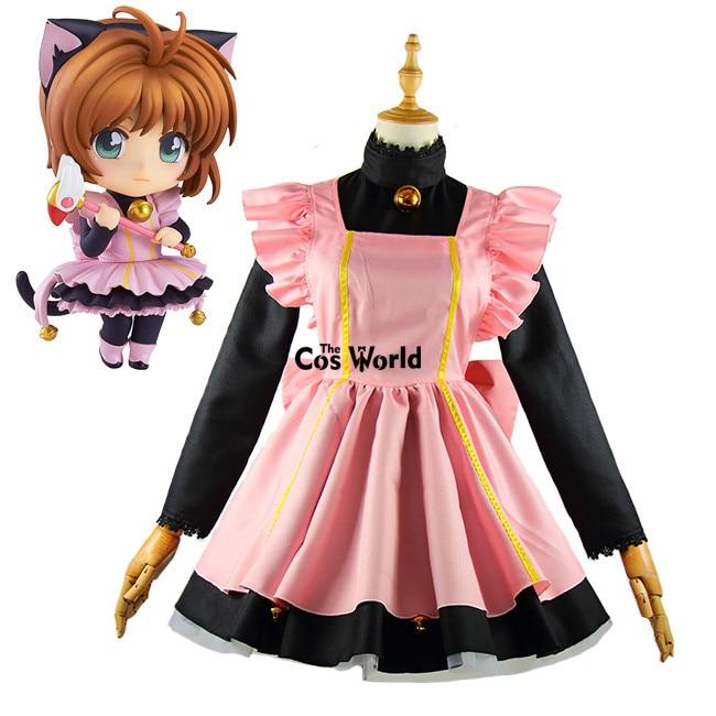Cardcaptor Sakura Kinomoto Sakura Cute Cat Maid Dress Uniform Outfit Anime Cosplay Costumes
