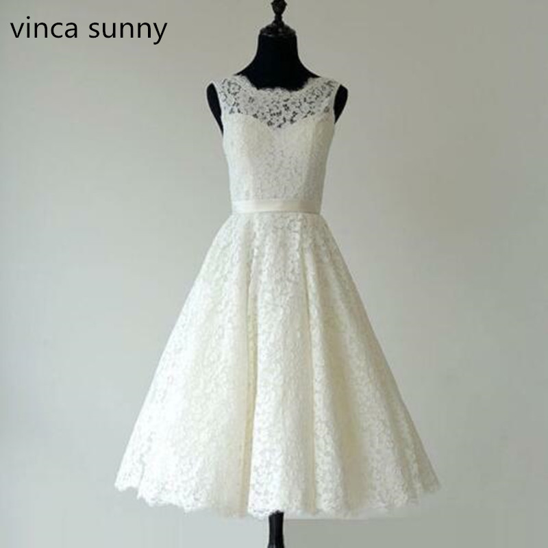 vinca sunny Tea Length Wedding Dress Vintage Lace Appliques Tank Scoop Vestido De Novia Curto Casamento Sashes Waist 2019