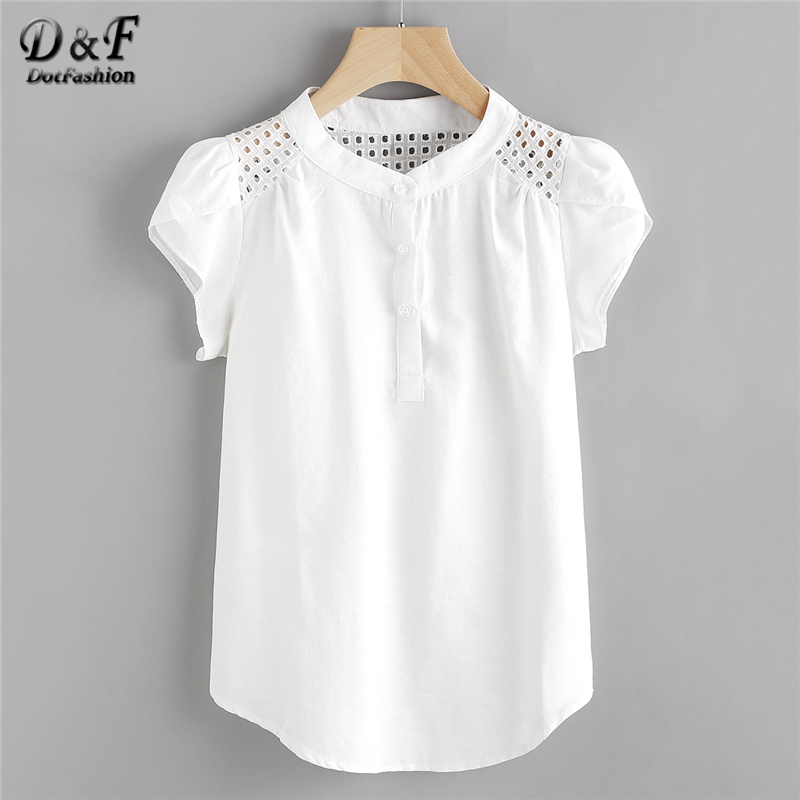 Dotfashion Eyelet Embroidered Panel Blouse 2019 Button Band Collar Cap Sleeve Top Women Casual Petal Sleeve Blouse blouse