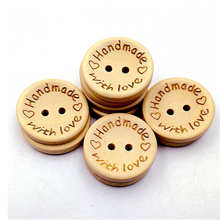 50PCs Natural Color Wooden Buttons Handmade Letter Love Scrapbooking For Wedding Decor 15mm/20mm/25mm