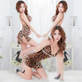 New ladies lingerie Halter straps explosion vent leopard Nightgown bar nightclub KTV Costume sexy nightgown Sexy lingerie AQ102