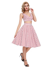 2016 Polka dots printed 60s 50s vintage dresses Robe Femme short swing 1950s Flared 2 Piece Set Women dress Two Piece outfits