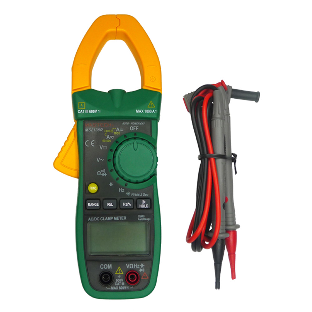 MASTECH MS2138R Digital Clamp Meter AC DC Clamp Meter Multimeter 4000 Counts Voltage Current Capacitance Resistance Tester