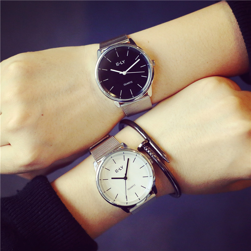 Luxury Silver Full Web Stainless Steel Analog Quartz Wristwatches Wrist Watch for Men Women Mint Green Black White