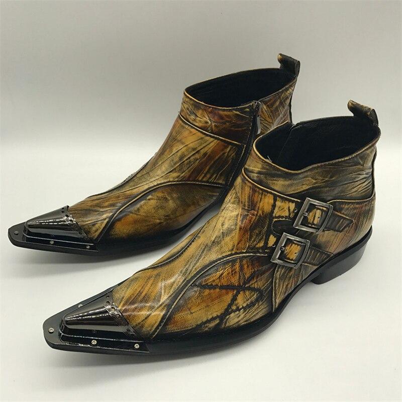 Militar Ankle Couro Baile De Dedo Apontado Vestido Outono Hombre Marrom Cowboy Sapatos Botas Novo Genuíno Mabaiwan Homens Primavera Boots A0ZPw0