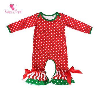 Kaiya Angel Baby Girl Rompers Christmas Long Sleeve Cotton Romper Jumpsuit With Bows Newborn 0-24M Baby Jumpsuit