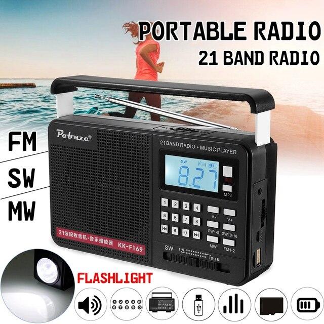 Handheld FM/MW/SW Full Bands International LED Radio with Flashlight MP3 Player Micro TF USB Outdoor Speaker